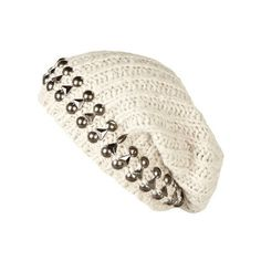 beige studded beanie hat - sunglasses / hats - accessories - women - River Island ($24) found on Polyvore