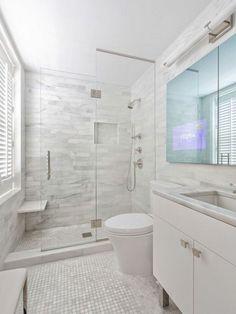 50 Amazing Small Master Bathroom Shower Remodel Ideas and Design - Bathroom Tile Designs, Bathroom Design Small, Bathroom Renos, Bathroom Renovations, Bathroom Interior, Gold Bathroom, Decorating Bathrooms, Narrow Bathroom, Bathroom Cabinets
