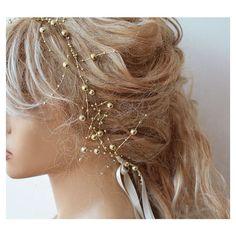 Wedding Pearl headband Gold Pearl Headband Bridal by ADbrdal ($32) found on Polyvore