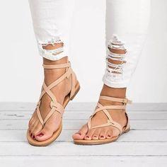 d448ad056d57 Large Size Adjustable Buckle Flat PU Sandals Woman Shoes