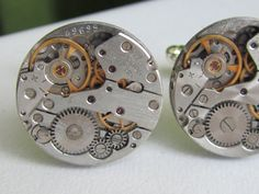 Steampunk Cuff links - with small round vintage watch movements.  Vintage upcycled mens Cuff Links,  Gift under 30 Dollars, $29.00