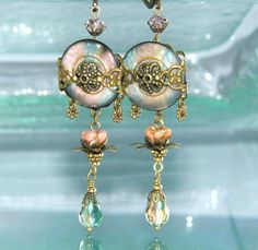 Vintage Button Dangle Earrings, Crystals & Glass Flowers / Button Art Jewelry. $24.00, via Etsy.