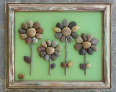 Pebble Art / Rock Art Flowers with Flying Insect by CrawfordBunch