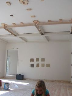 how to put in a faux coffered ceiling: