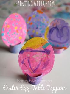 Easter Egg Table Toppers - Painting with Q-tips (Happy Hooligans)