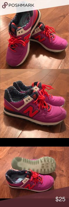 New Balance 574's Soft satin liner. Run a little small, but they're supposed to fit tighter. Not too much wear. New Balance Shoes Sneakers
