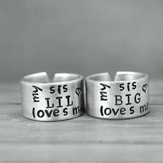 Sister Rings - Big Sis Lil Sis Gift for Sister - Big Sister Gift Sister Rings, Sister Jewelry, Sister Bracelet, Big Sis Lil Sis Gifts, Sis Loves, How To Make Rings, Silver Rings Handmade, Rings For Her, Stamped Jewelry