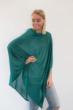 CharliBird Bamboo Poncho in sea green $99.95