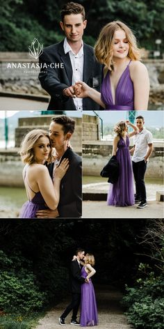 Photo session for high school sweethearts, Trinity and Spence at Stanley Park. We went for afterparty relaxed look, and it turned out great! They look amazing in their purple long dress and suit. Outdoor Wedding Photography, Couple Photography, Wedding Portraits, Wedding Photos, Wedding Stuff, Engagement Photo Inspiration, Wedding Inspiration, Lilac Bridesmaid Dresses, Lilac Wedding