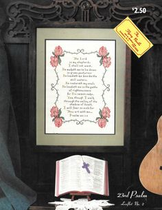23rd Psalm is a rare and out of print counted cross stitch pattern of a popular bible verse that is often accounted as a prayer.  The complete bible verse is charted with a pink flower scroll border. This charted design measures 166 x 263 stitches. 23rd Psalm uses full and back stitches and may be completed using DMC threads.  See more creative patterns, charts, graphs, templates, kits, supplies, leaflets, booklets, and instant downloads for counted cross stitch, quilting, decorative…