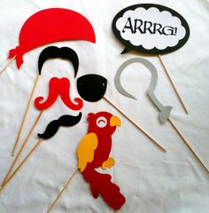Pirate Photo Props  - Photo booth props - 12 Pieces - Wedding props- birthday party photo props - mustaches on a stick  - props on a stick