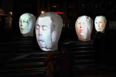 "Art Installation ""Talking Heads"" (video projection with sound) 