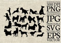 Dog Silhouette Printable Clipart for by ConceptitudeStore on Etsy #dog #animallover #pets #schnauzer #husky