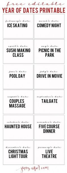Free Year of dates printable. Customize and gift to your hubby this Valentine's Day - Pinned by Adventure Mom