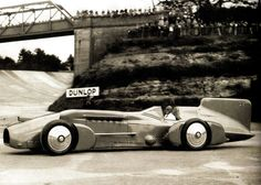 World land speed record holder Malcolm Campbell drives his record breaking 'Bluebird' around Brooklands - UK - 17 April 1933