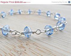 FALL SALE SALE Blue Crystal Bracelet Sky Blue by DesignsbyALY, $32.40