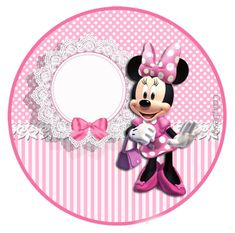 Minnie with Pink Stripes: Free Printable Candy Bar Labels. Minnie Mouse Template, Minnie Mouse Stickers, Minnie Mouse Images, Minnie Mouse Cupcake Toppers, Minnie Mouse Pink, Mickey Mouse Decorations, Mickey Mouse Parties, Mickey Party, Pirate Party
