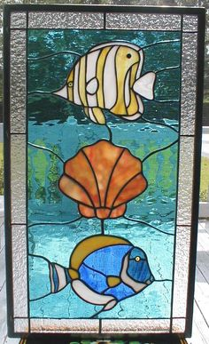 Items similar to Tropic Fish and Shell in Stained Glass on Etsy Stained Glass Quilt, Stained Glass Flowers, Faux Stained Glass, Stained Glass Designs, Stained Glass Panels, Stained Glass Projects, Stained Glass Patterns, Animal Original, Window Art