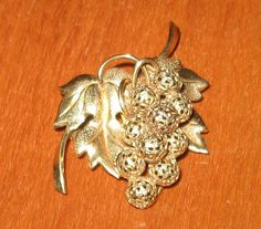 Vintage Brooch Small Grapevine Design Stamped by CallJannie