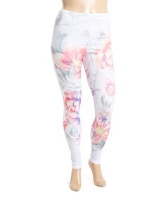 Loving this White & Pink Floral Print Leggings - Plus on #zulily! #zulilyfinds