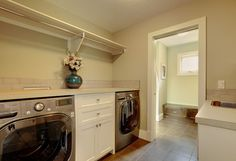 Contemporary Laundry Design Ideas, Pictures, Remodel and Decor Laundry Room Organization, Organizing, Laundry Room Remodel, Hanging Bar, Laundry Room Design, Washer And Dryer, Countertops, House Plans, New Homes