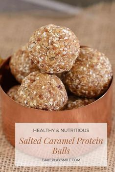 Deliciously Healthy Salted Caramel Protein Balls made from medjool dates and 3 other easy pantry staples! Made in about 5 minutes, they are the perfect delicious and healthy snack. #protein #easy #proteinballs Healthy Mummy Recipes, Milk Recipes, Healthy Treats, Healthy Baking, Dog Food Recipes, Flour Recipes, Protein Bites, Protein Ball, Healthy Flapjack
