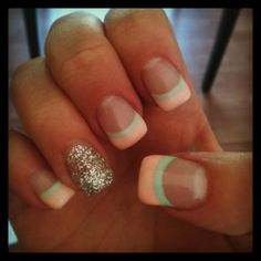 Glow-In-The-Dark Coral and Mint with a Silver Glitter Accent Nail! #GetNailed