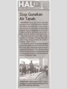 Stop Gunakan Air Tanah Ekonomi BADAN PEMBINAAN BUMD Rabu, 14 Maret 2018 Indo Pos,Hal :10b Jurnalis - nas