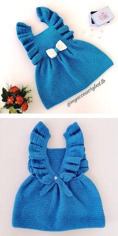 Crochet Baby Dress Free Pattern, Knit Baby Dress, Baby Dress Patterns, Baby Girl Crochet, Crochet Baby Clothes, Crochet Dresses, Newborn Crochet Outfits, Baby Knitting Patterns Free Newborn, Knitting Baby Girl