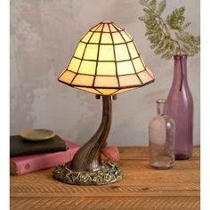 """Wind & Weather Stained Glass Mushroom 13"""" Table Lamp 