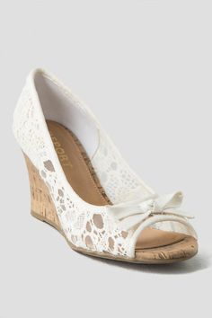 Lace bow wedges. Perfect for any bridal shower outfit or spring time event.