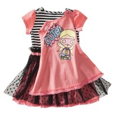 Harajuku Mini For Target® Toddler Girls' Short-sleeve Dress With Cape-Coral/Black