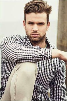 Dapper  Mens Fashion style, check shirt, beige chinos, good hair, handsome, work, streetstyle