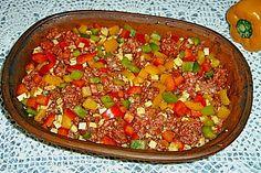 Curiosias Hackfleisch - Paprika - Reisauflauf aus dem Römertopf 1