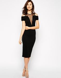 TFNC Bodycon Dress With Mesh Plunge Insert