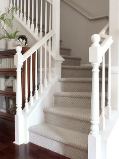 Best Carpet For Stairs, Grey Stair Carpet, Patterned Stair Carpet, Stairway Carpet, Pattern Carpet On Stairs, Carpet Treads For Stairs, Installing Carpet On Stairs, Striped Carpet Stairs, Staircase Remodel