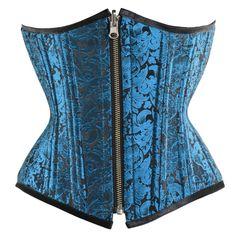 c8bd2eafa6 RV-019 - Reversible Turquoise Black Brocade Pattern Waist Training Corset -  MADE TO ORDER