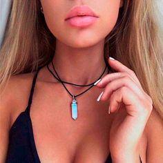 Leather Opal Choker Necklace