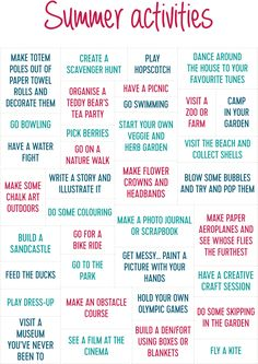 50 Activities to Keep the Kids Busy this Summer. Check out our printable list of 50 activities to keep the kids (and you!) occupied and out of trouble this summer holiday. Shake It Up by Cambridge Weight Plan