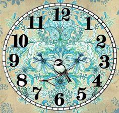 Free Vintage Clock.Blauw met vogeltje                                                                                                                                                      More