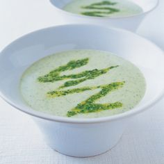 Soup courgette soup with watercress and pecorino pesto