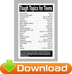 One For The Books: Tough Topics for Teens Bookmarks and Poster Printables