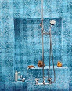 ideas bathroom shower tile blue interior design for 2019 Bathroom Sink Decor, Modern Bathroom Sink, Bathroom Paint Colors, Bathroom Layout, Bathroom Showers, Modern Bathrooms, Small Bathroom, Bathroom Ideas, Blue Mosaic