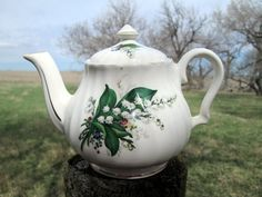 """Vintage Small teapot Lily of the Valley Flower ...I believe my Corrie would've liked """"a spot of tea""""...<3"""