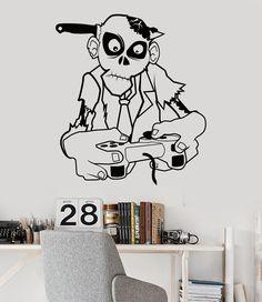 Vinyl Wall Decal Zombie Game Zone Gamer Teen Room Video Games Joystick Stickers (786ig)