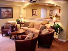 Basement remodel - I really like this to divide the family room and the play area!!
