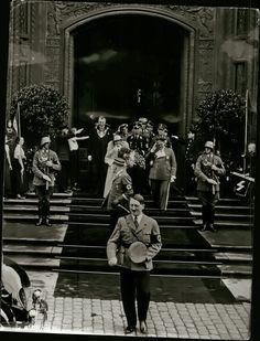 Hitler leaving Goering's wedding in 1935.