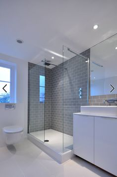 Gray And White Bathroom Design Ideas, Pictures, Remodel and Decor Loft Bathroom, Ensuite Bathrooms, Bathroom Layout, Bathroom Interior Design, Bathroom Gray, Metro Tiles Bathroom, Bathroom Renovations, Grey White Bathrooms, Bathroom Storage