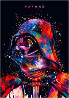 Star Wars Tribute: F A T H E R – Darth Vader portrait in Illustration
