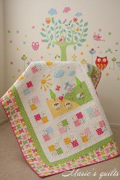 Marie's quilts: Pastorale # 3 Decorative elements made of felt.